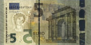 new 5 euro banknotes against the light