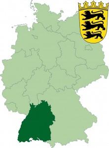 Федеральная земля Баден-Вюртемберг на карте Германии