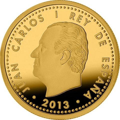 100 евро испания 2013г золото номер 107