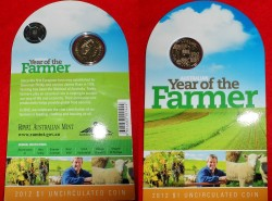 2012 $1 Australian Year of the Farmer Unc Coin in Card