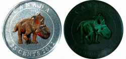 Canada 25 cent Dinosaur Pachyrhinosaurus - Coloured Glow-in-the-dark Coin