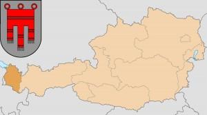 Форарльберг  на карте Австрии и герб федеральной земли