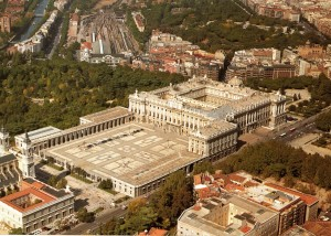 Royal Palace of Madrid, air view