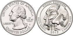 USA 2013. 25 cents. Mount Rushmore