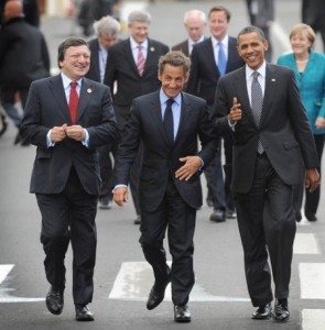 G8: President of the European Commission José Manuel Barroso, French President Nicolas Sarkozy, US President Barack Obama