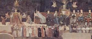 Амброджо Лоренцетти. «Аллегория доброго правления» фреска, деталь. 1337—1339 гг. Сиена, Палаццо Пубблико.