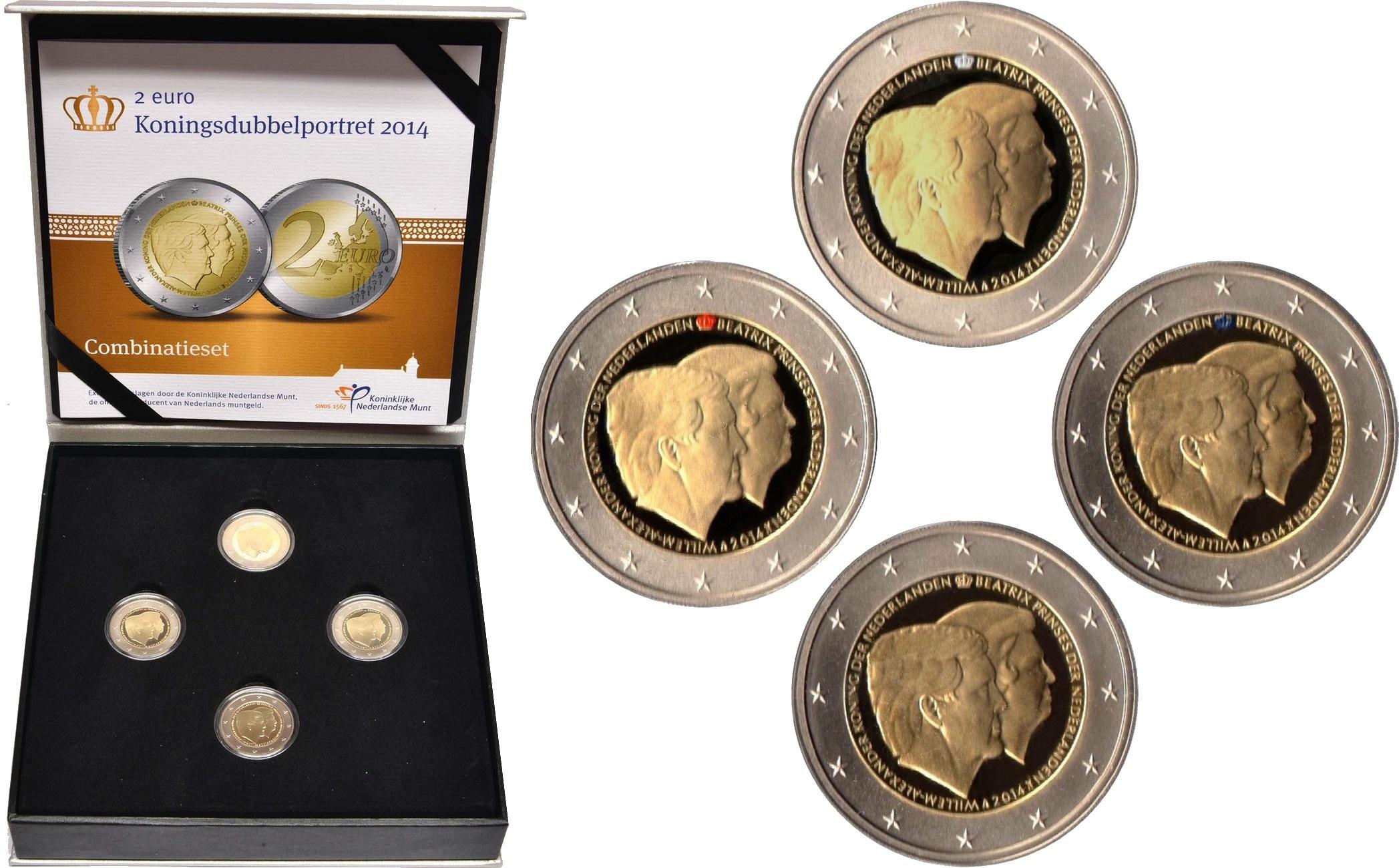 В состав голландского набора 2014 года вошли четыре монеты в качестве чеканки Proof. При этом на трёх из них корона окрашена в цвета национального флага: красный, белый и синий.