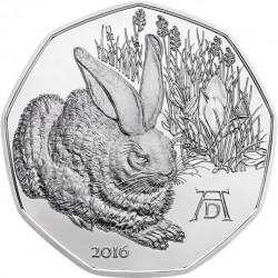 """5 евро «Рисунок Альбрехта Дюрера """"Заяц""""» (Ag 800), реверс"""