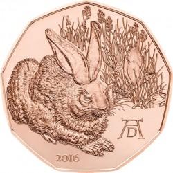 """5 евро «Рисунок Альбрехта Дюрера """"Заяц""""» (Cu), реверс"""