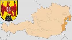 Бургенланд на карте Австрии и герб федеральной земли