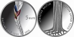 Латвия, 5 евро, «25-летие акции Балтийский путь»