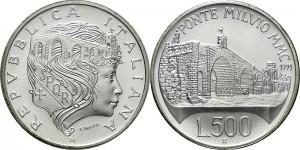 Italy 1991. 500 lire. Ponte Milvio