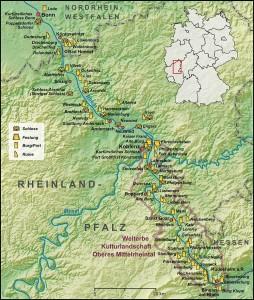 Карта долины Среднего Рейна
