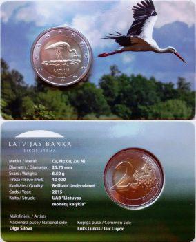 2 евро 2015 года в coincard. Аист.