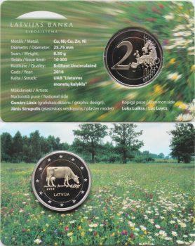 2 евро 2016 года в coincard. Корова