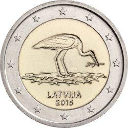 2 евро. Латвия 2016. Аист