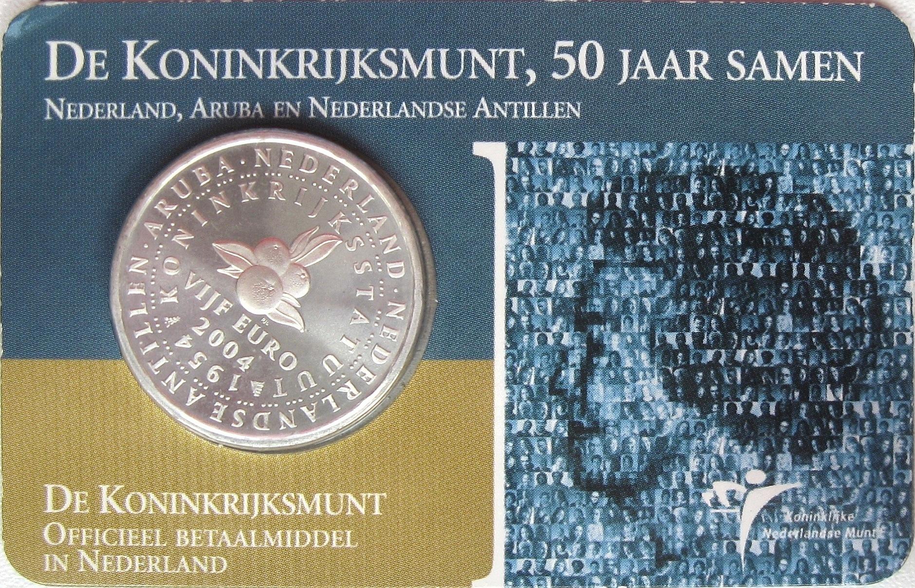 Нидерланды 5 евро 2005 год 60 лет мира и свободы номі 507