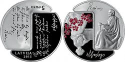Латвия 2015. 5 евро. «Райнис и Аспазия»