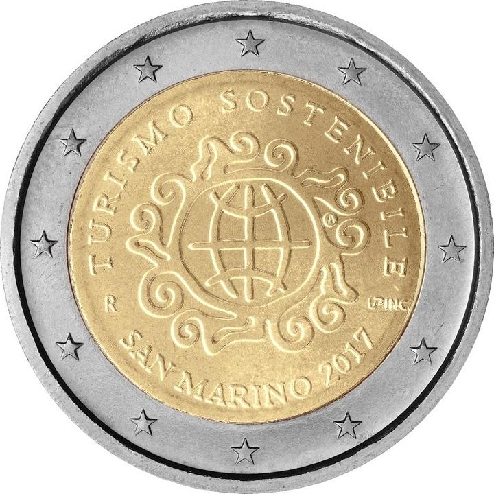 Sanmarīno 2 eiro monēta Starptautiskais ilgtspējīgas tūrisma gads 2017