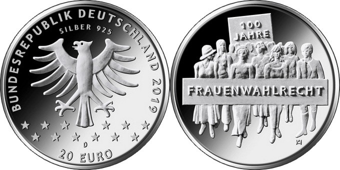 Germany 2019 20 euro Frauenwahlrecht