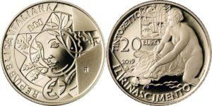 Italy 2019 20 euro. Rinascimento
