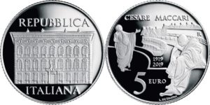 Italy 2019 5 euro. Cesari Maccari