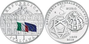 Italy 2019 5 euro. Ragioneria generale dello Stato