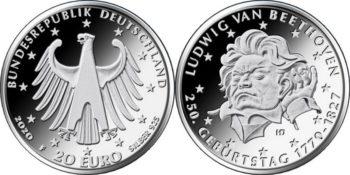 10 евро Германии 2020. 250 лет со дня рождения Людвига ван Бетховена