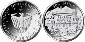 20 евро Германии 2020 «900 лет Фрайбургу»