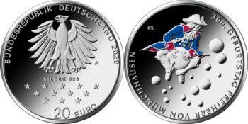 20 евро Германии 2020 «300 лет со дня рождения барона Мюнхгаузена»