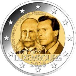 2 евро Люксембурга 2020. 200 лет со дня рождения Генриха Оранско-Нассауского