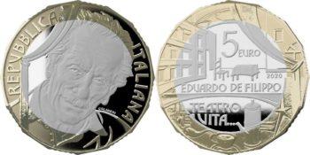 Italy 2020 5 euro. Eduardo De Filippo