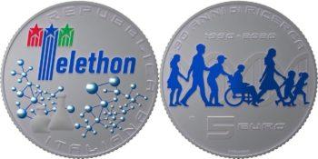 Italy 2020 5 euro. Fondazione Telethon