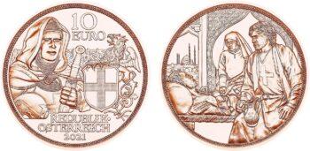Austria 2021 10 euro Brotherhood Cu