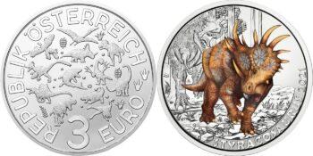 Austria 2021. 3 euro. Styracosaurus