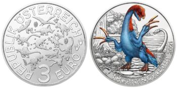Austria 2021 3 euro Therizinosaurus