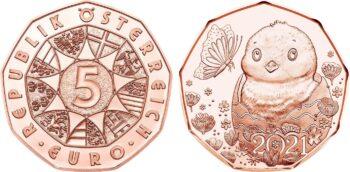 Austria 2021 5 euro 1 ostermuenze Cu