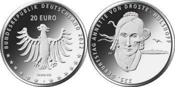Germany 2022 20 euro Annette von Droste-Hulshoff