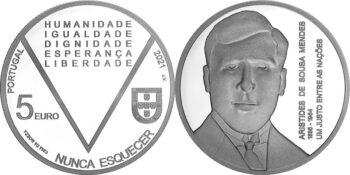 Portugal 2021. 5 euro Mendes. Ag