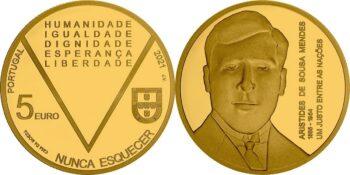 Portugal 2021. 5 euro Mendes. Au