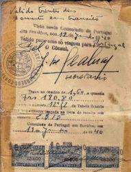Visa issued by Aristides de Sousa Mendes