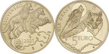 Slovakia 2021 5 euro Wolf