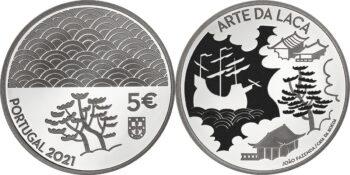 Portugal 2021. 5 euro. Arte da Laca. Ag 925
